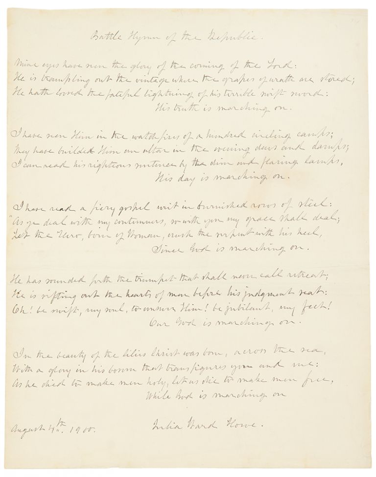 Autograph manuscript signed, the complete five stanzas of the Battle Hymn of the Republic. Julia Ward HOWE.