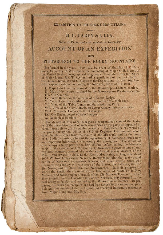 Expedition to the Rocky Mountains. H. C. Carey & I. Lea, Have in Press, and will publish in December, Account of an Expedition from Pittsburgh to the Rocky Mountains ... [rear wrapper advertisement on a December 1822 issue of The Port Folio]. LONG EXPEDITION.