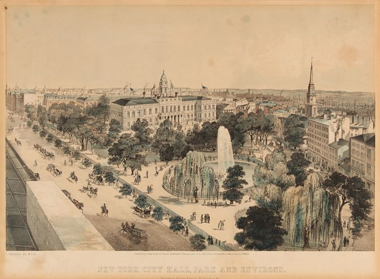 New York City Hall, Park and Environs. After JOHN BACHMANN.
