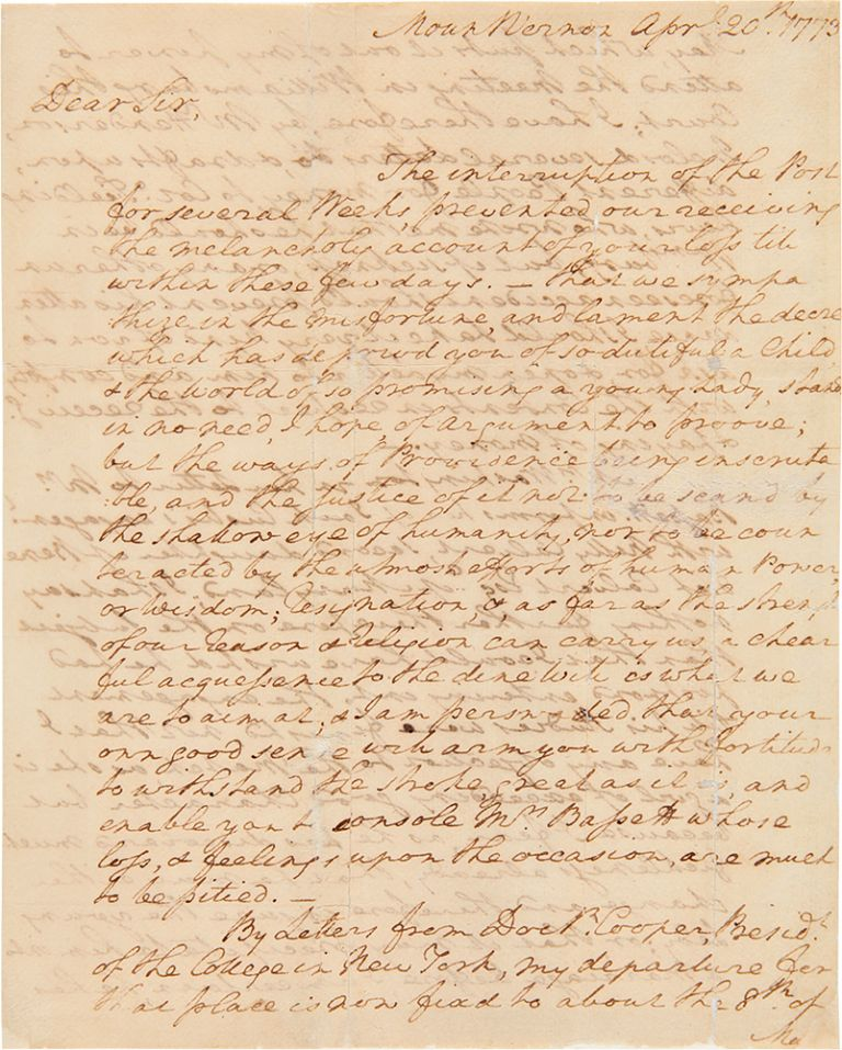 [Autograph letter signed, from George Washington to Burwell Bassett, offering condolences on the death of his daughter, and discussing news of the engagement of John Custis to Eleanor Calvert]. GEORGE WASHINGTON.
