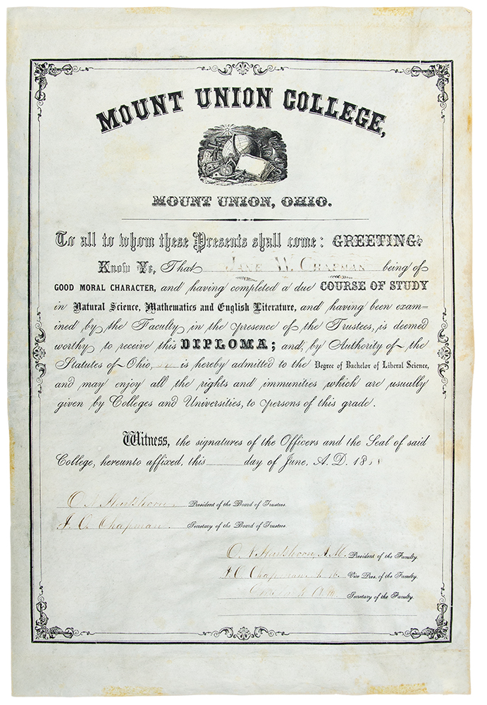 Partly-printed vellum document signed, a diploma granting a Bachelor of Liberal Science degree to Jane W. Chapman. MOUNT UNION COLLEGE.