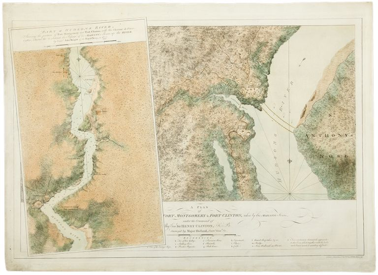 A plan of Fort Montgomery and Fort Clinton, taken by His Majesty's forces, under the command of Maj. Gen.l Sir Henry Clinton, K.B: Survey'd by Major Holland, Surv.r Gen.l &c. ... [With large inset titled:] Part of Hudsons River, shewing the position of Fort Montgomery and Fort Clinton, with the Chevaux de Frieze, cables, chains, &c to obstruct the passage of his Majesty's forces up the river. By Lieut. John Knight of the Royal Navy in 1777. J. F. W. DES BARRES, publisher - Samuel HOLLAND, John KNIGHT.