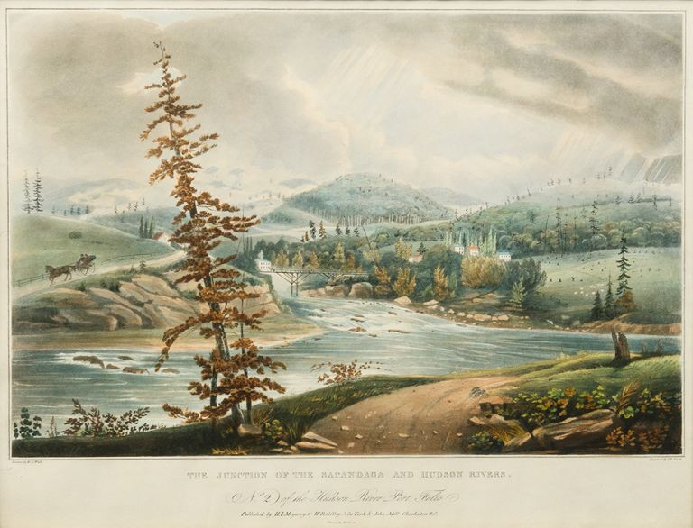 The Junction of the Sacandaga and Hudson Rivers [No. 2 of the Hudson River Port Folio]. John HILL, William Guy WALL, engraver.