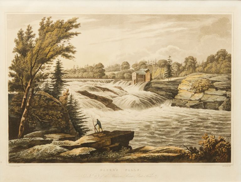Baker's Falls No. 8 of the Hudson River Port Folio. John HILL, William Guy WALL, engraver.