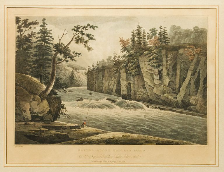 Rapids Above Hadley's Falls. No. 4 of the Hudson River Port Folio. John HILL, William Guy WALL, engraver.