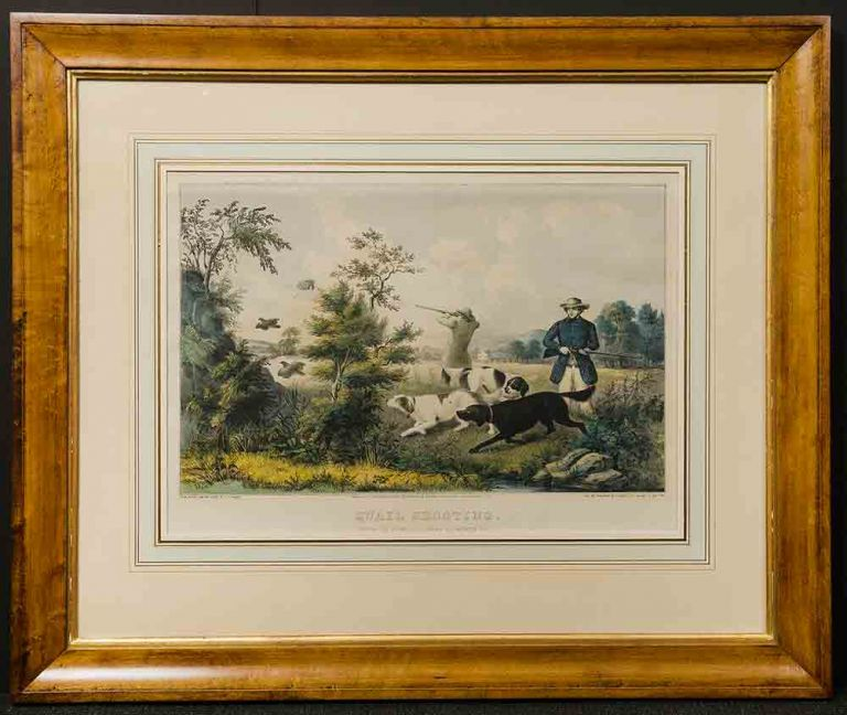 [CURRIER & IVES pub] Quail Shooting. Setters Property of S. Palmer, Esq. Brooklyn, L. I. F. F. PALMER.
