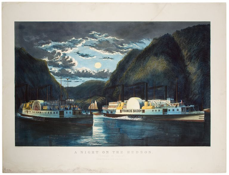 "A Night on the Hudson. ""Through at Daylight"" CURRIER, pub IVES."
