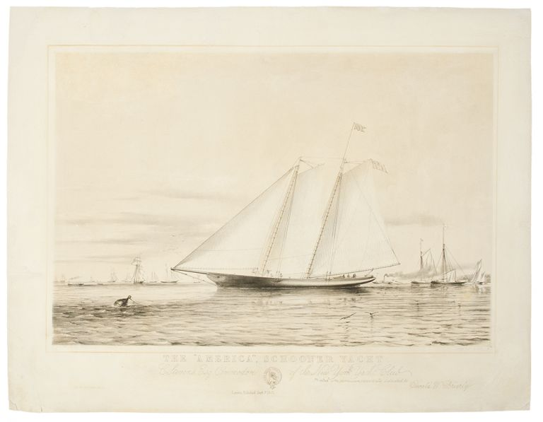"""The """"America"""" Schooner Yacht. C Stevens, Esq Commodore of the New York Yacht Club. Thomas Goldsworth after BRIERLY DUTTON, - 1891."""