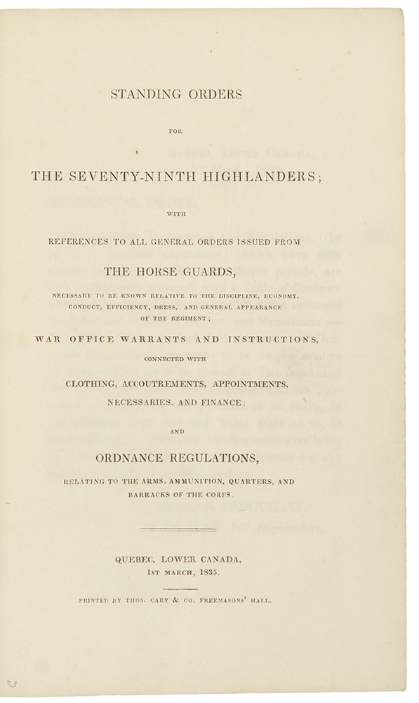 Standing Orders for the Seventy-Ninth Highlanders. CANADA.