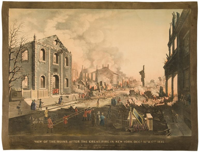 View of the Ruins after the Great Fire in New York, Dec. 16th & 17th, 1835 as seen from Exchange Place. William James BENNETT, c.