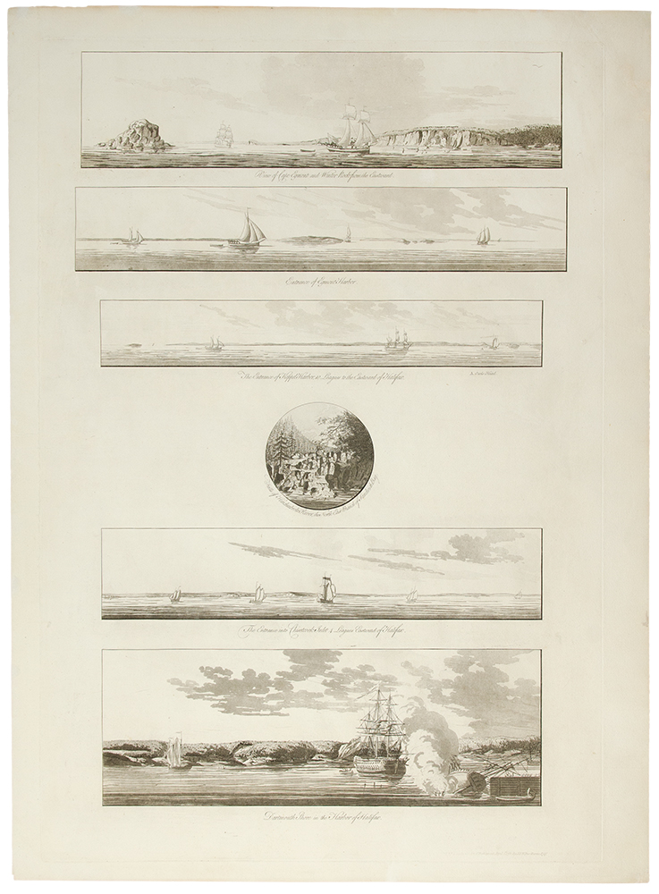 [A group of six views near Halifax printed on a single plate] `A View of Cape Egmont and Winter Rock from the Eastward.'; `Entrance of Egmont Harbor.'; `The Entrance of Keppel Harbor, 10 Leagues to the Eastward of Halifax.'; `Falls of Hinchinbroke River, the North East Branch of Sandwich Bay.'; `The Entrance into Chisetcook Inlet 4 Leagues Eastward of Halifax.'; `Dartmouth Shore in the Harbor of Halifax'. Joseph F. Wallet DES BARRES.