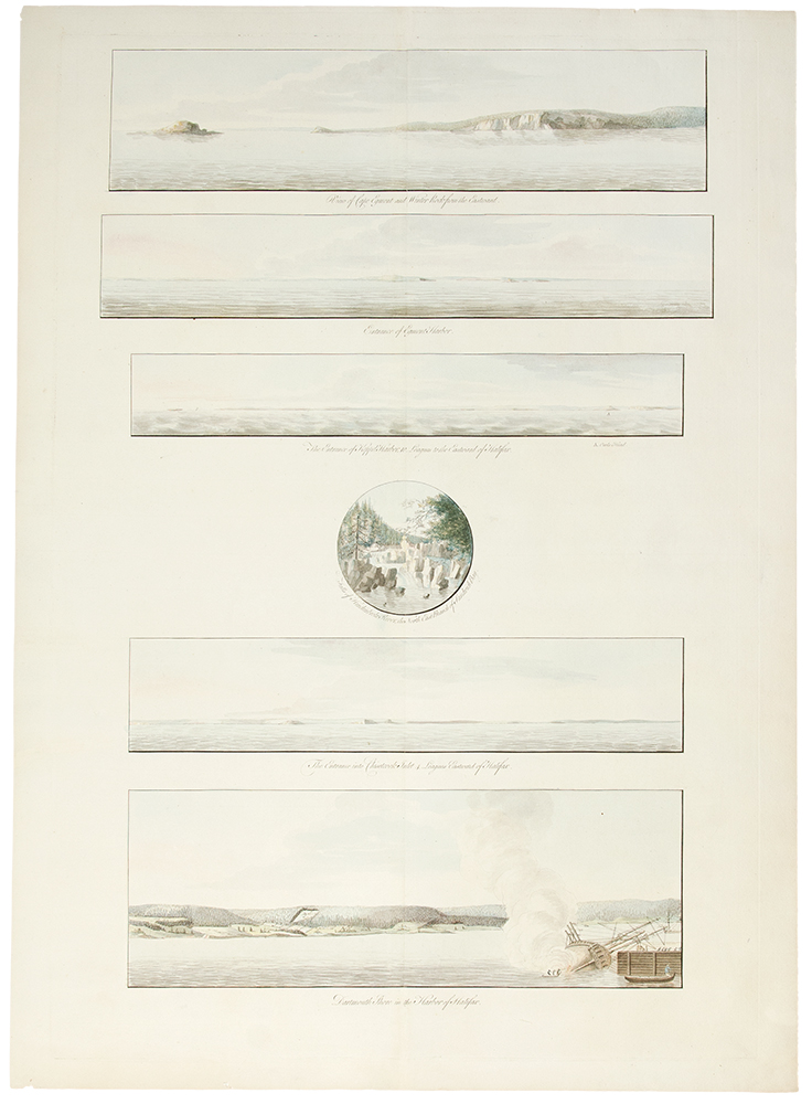 [A group of six views printed on a single plate] `A View of Cape Egmont and Winter Rock from the Eastward.'; `Entrance of Egmont Harbor.'; `The Entrance of Keppel Harbor, 10 Leagues to the Eastward of Halifax.'; `Falls of Hinchinbroke River, the North East Branch of Sandwich Bay.'; `The Entrance into Chisetcook Inlet 4 Leagues Eastward of Halifax.'; `Dartmouth Shore in the Harbor of Halifax'. Joseph F. Wallet DES BARRES.