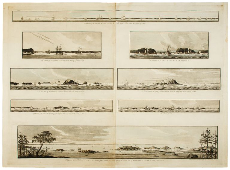 [8 Navigational Profiles near Nova Scotia}: Appearance of the Land from the White Islands to St. Marys River taken two Leagues off Shore; The Entrance of Milford Haven at the Head of Chedabucto Bay; The Entrance of Port Bickerton bearing N. W.; A View taken off the Entrance of Beaver Harbor Bald Isle bearing E, 150 N; A View taken in the Offing of Beaver Harbour Bald Isle bearing W. by S. 3/4 S. distant 3/4 of a Mile; Appearance of the Shore to the Westward of Canso Cranberry Isle bearing N. by E. 1/2 E. distant 4 Miles; C. Bald Isle bearing N. 1/2 E. The Beaver Isles; Appearance of the S. E. Point of Nove Scotia taken from Canso Island Shewing the distant Land of Richmond Isles the Gut of Canso &c. J. F. W. DES BARRES.