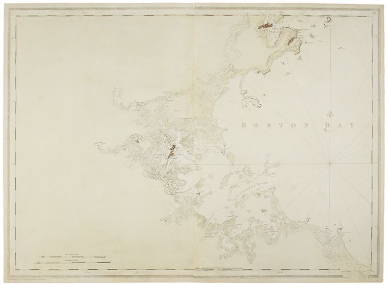 [Untitled chart of Boston Bay]. J. F. W. SAMUEL HOLLAND DES BARRES, publisher, and.