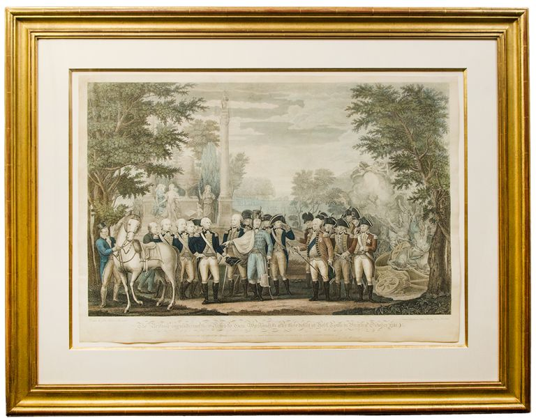 Defeat at Yorktown. The British Surrendering their arms to Gen. Washington after their Defeat at Yorktown, in Virginia, October, 1781. J. F. after AMERICAN REVOLUTION - RENAULT.
