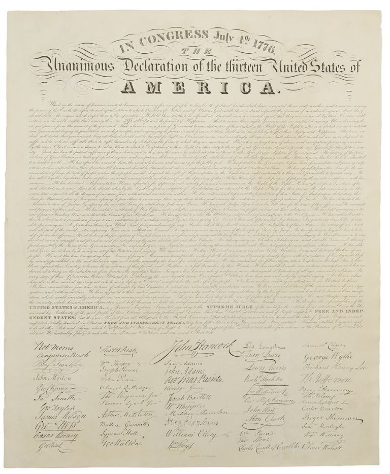 In Congress, July 4, 1776. The Unanimous Declaration of the Thirteen United States of America. DECLARATION OF INDEPENDENCE. - Eleazer HUNTINGTON, engraver.