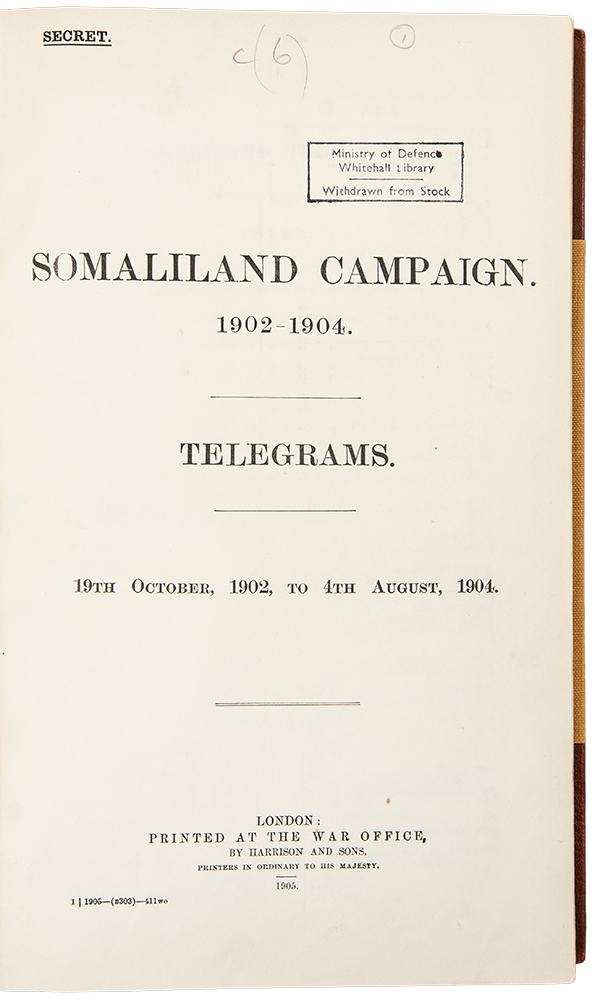 Somaliland Campaign. 1902-1904. Telegrams. 19th October 1902 to 4th August, 1904. SOMALILAND CAMPAIGN.