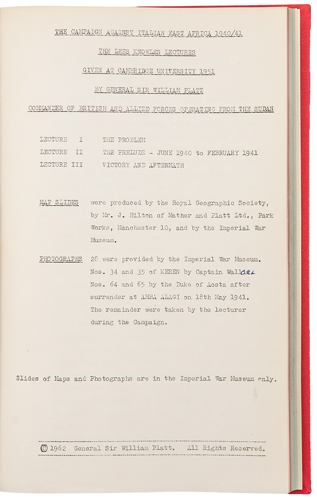 The Campaign against Italian East Africa 1940/41. The Lees Knowles Lectures given at Cambridge University 1951. Sir William WORLD WAR II - PLATT.