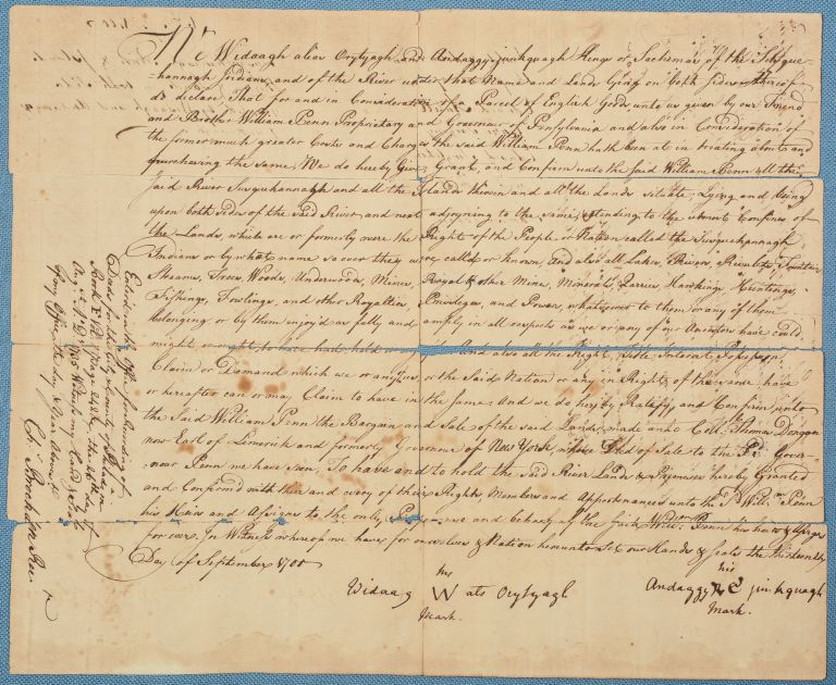 Archive of over seventy manuscript documents and maps principally relating to the Walking Purchase. PENNSYLVANIA, NATIVE AMERICANS.
