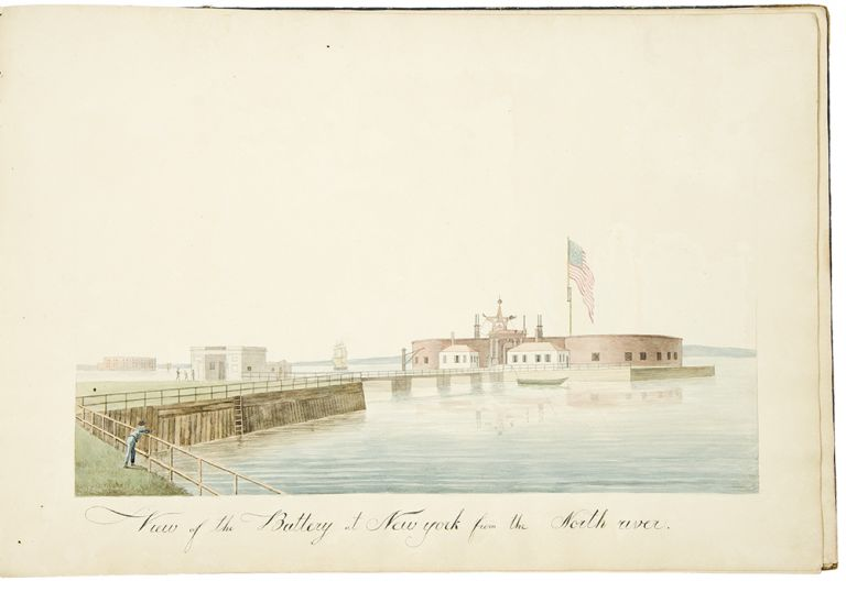 [Album of watercolor of views of American cities, landscapes or ships]. AMERICAN ART.