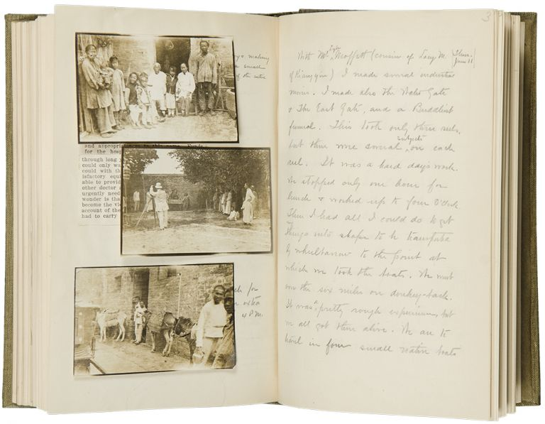 Manuscript diaries of a trip to Japan, China and Korea, iextensively llustrated with photographs and ephemera from the trip. Louis Arthur HOLMAN.