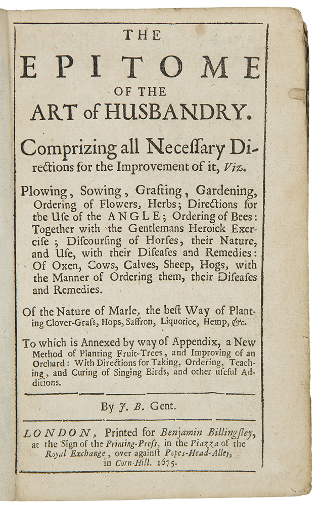 The Epitome of the Art of Husbandry ... by J. B. Gent. Joseph BLAGRAVE.