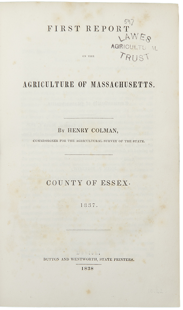 First [- Fourth] Report on the Agriculture of Massachusetts. Henry COLMAN.