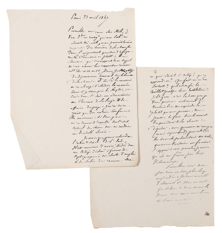 [Four manuscript letters from Tocqueville to John Stuart Mill (3) and Henry Reeve (1), written in the hand of Gustave de Beaumont evidently in preparation for his edition of Tocqueville's Oeuvres]. Alexis de TOCQUEVILLE.