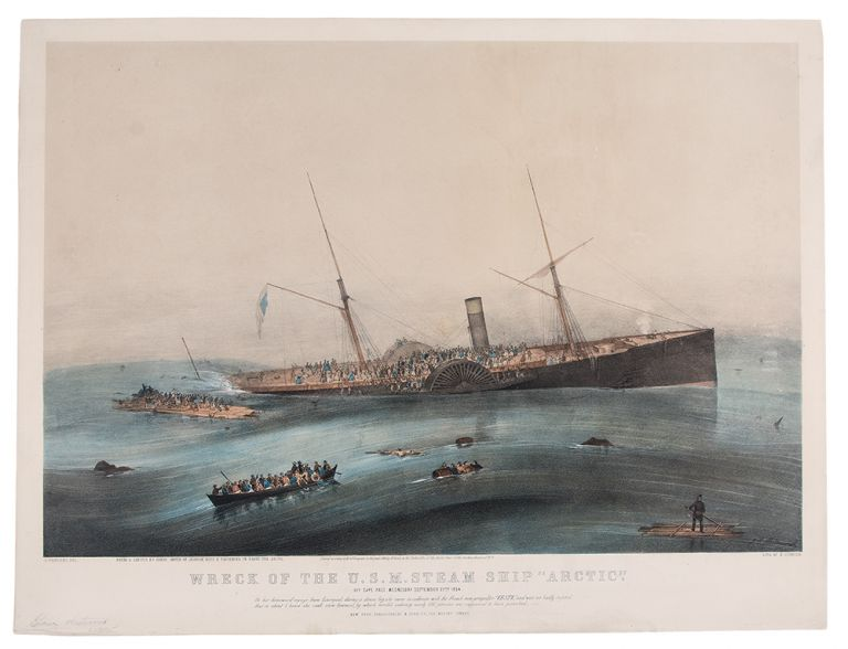 """Wreck of the U.S. Steam Ship """"Arctic"""". Off Cape Race Wednesday September 27th. 1854. After James Edward BUTTERSWORTH."""