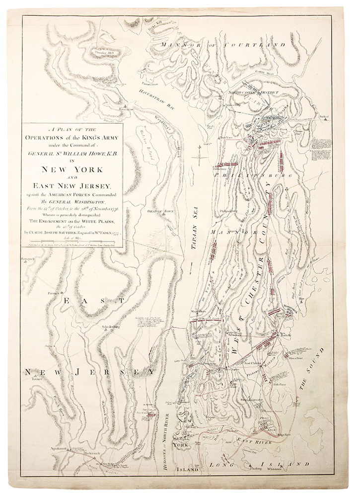 A Plan of the Operations of the Kings Army Under the Command of General Sr. William Howe, K.B. in New York and East New Jersey against the American Forces Commanded by General Washington, from the 12th of October to the 28th of November 1776. Wherein is particularly distinguished the encampment on the White Plains. Claude Joseph SAUTHIER, William FADEN.