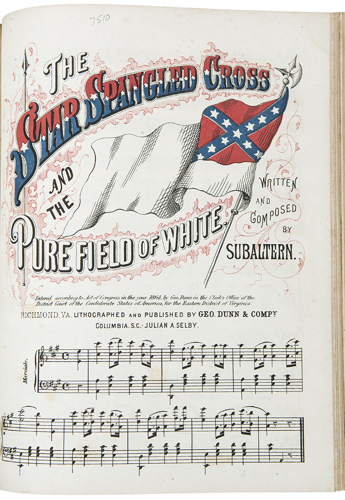 Bound volume of 44 pieces of lithographed Confederate sheet music, mostly with illustrated covers. Confederate CIVIL WAR.