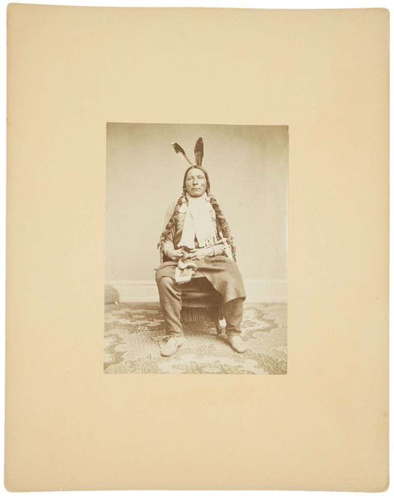 Group of 5 mounted albumen photographs of Native Americans, each being a chief or warrior of the Dakota Sioux. Antonio Zeno SHINDLER, photographer.