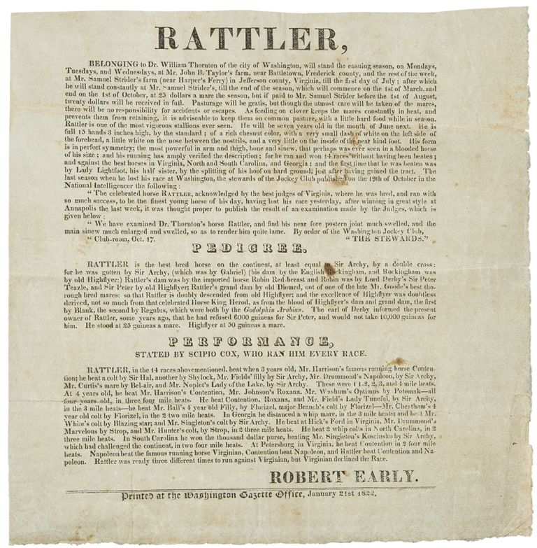 Rattler ... Belonging to Dr. William Thornton of the City of Washington, will stand the ensuing season. STUD BROADSIDE.