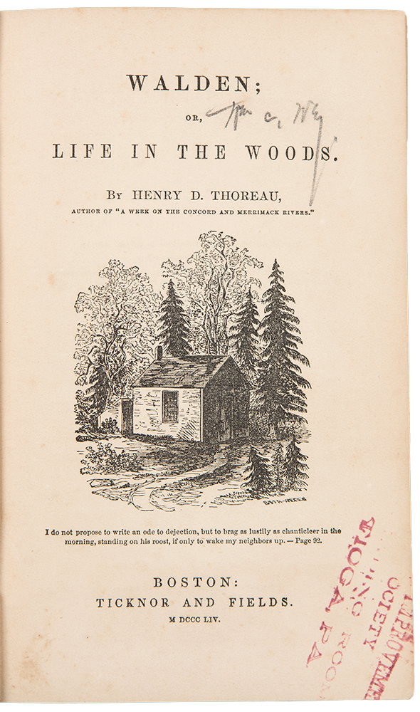 Walden; or Life in the Woods. Henry David THOREAU.