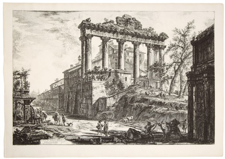 The Temple of Saturn, with a Corner of the Arch of Septimius Severus in the Foregound. Giovanni Battista PIRANESI.