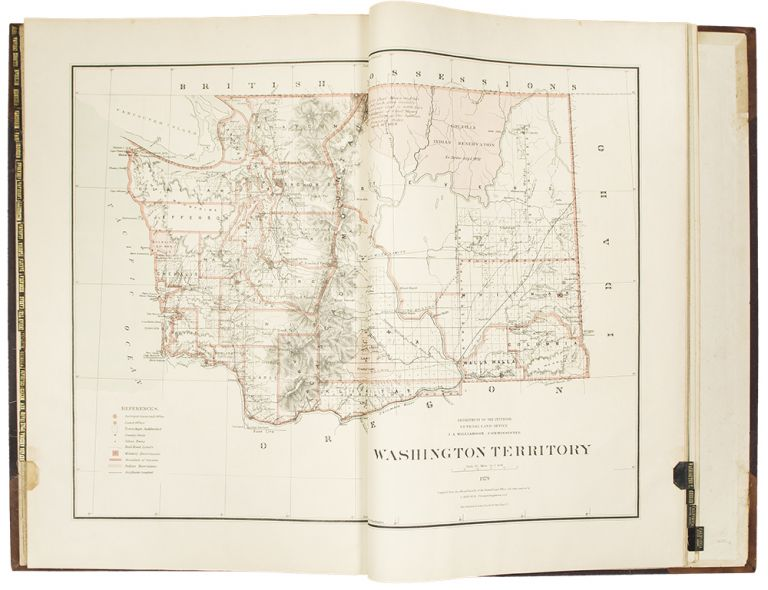 Atlas of the states and territories over which land surveys have been extended [label on upper cover]. General Land Office - C. ROESER UNITED STATES, G. L. O., Principal Draughtsman.
