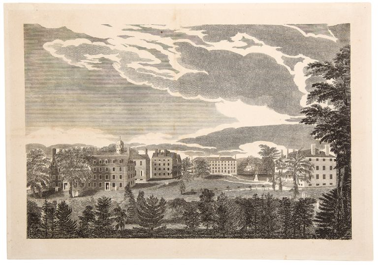 [South View of the Several Halls of Harvard College]. Alvan FISHER, after.