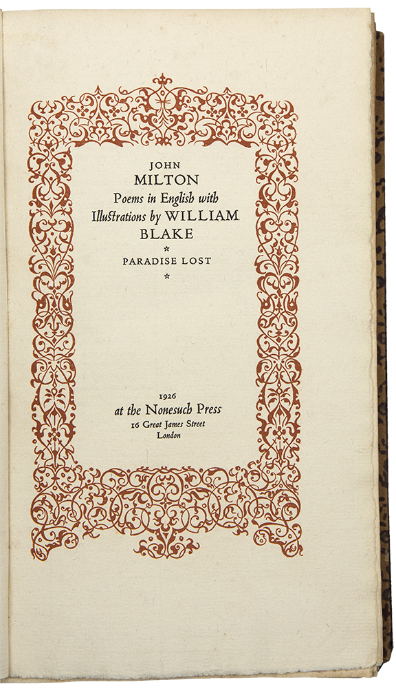 John Milton. Poems in English with Illustrations by William Blake. NONESUCH PRESS.