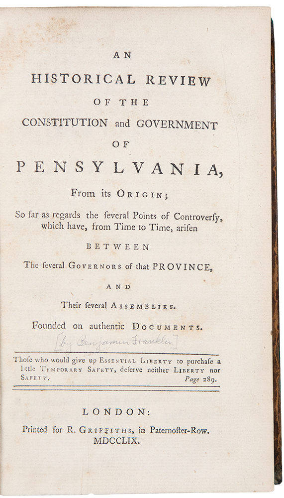 An Historical Review of the Constitution and Government of Pensylvania, from its Origin. Benjamin FRANKLIN, Richard JACKSON.