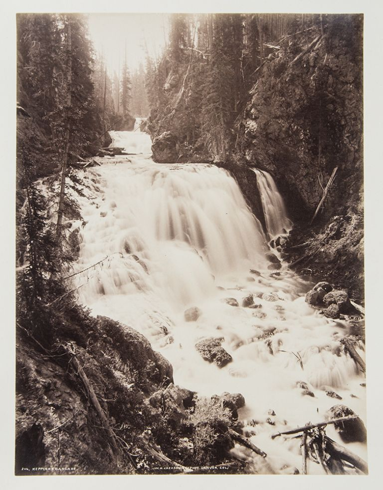 [Group of 7 mounted albumen photographs of Yellowstone]. William Henry JACKSON.