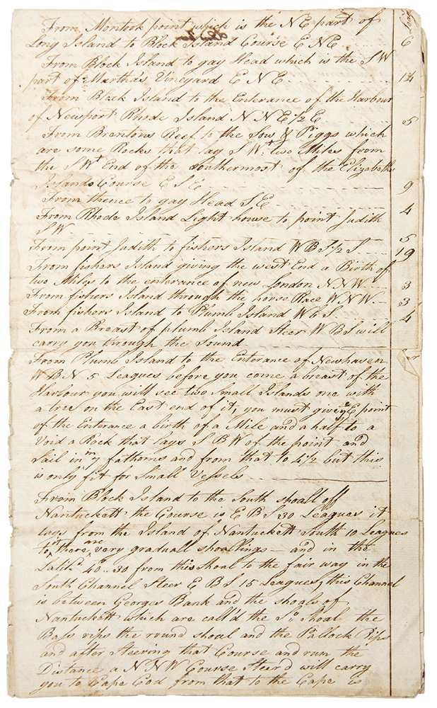 Manuscript sailing directions from Long Island to Nova Scotia, with separate remarks on Rhode Island, Block Island, Long Island, Elizabeth Islands, Cape Cod, Cape Ann, Cape Sable, Cape Sambro, Seal Island and more. SAILING DIRECTIONS.