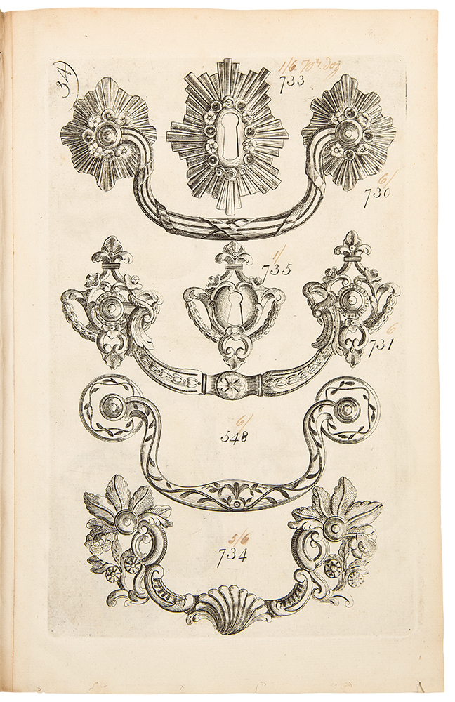 [Early English trade catalogue of brass furniture hardware designs]. English 18th century BRASS FOUNDRY PATTERN BOOK.