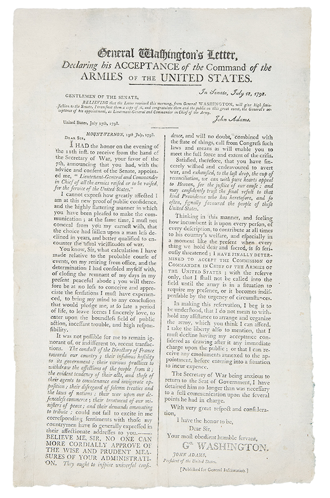 General Washington's Letter Declaring his Acceptance of the Command of the Armies of the United States. George WASHINGTON.