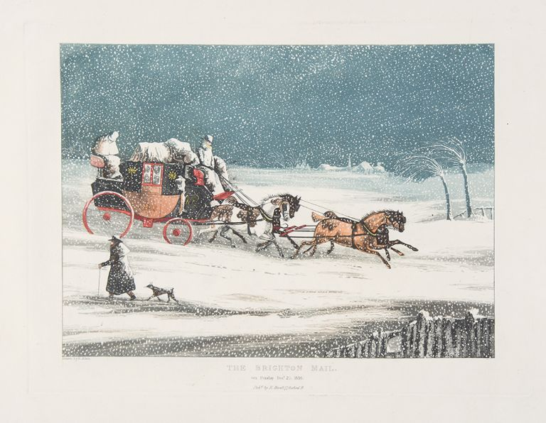 [Coaches in Snowstorms]. Henry ALKEN, after, engraver, Robert HAVELL.