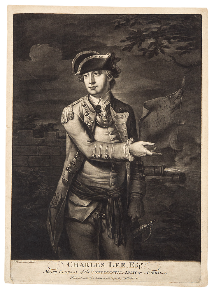 Charles Lee, Esqr. Major General of the Continental-Army in America. C. CORBUTT, after THOMLINSON, pseudonym R. PURCELL.