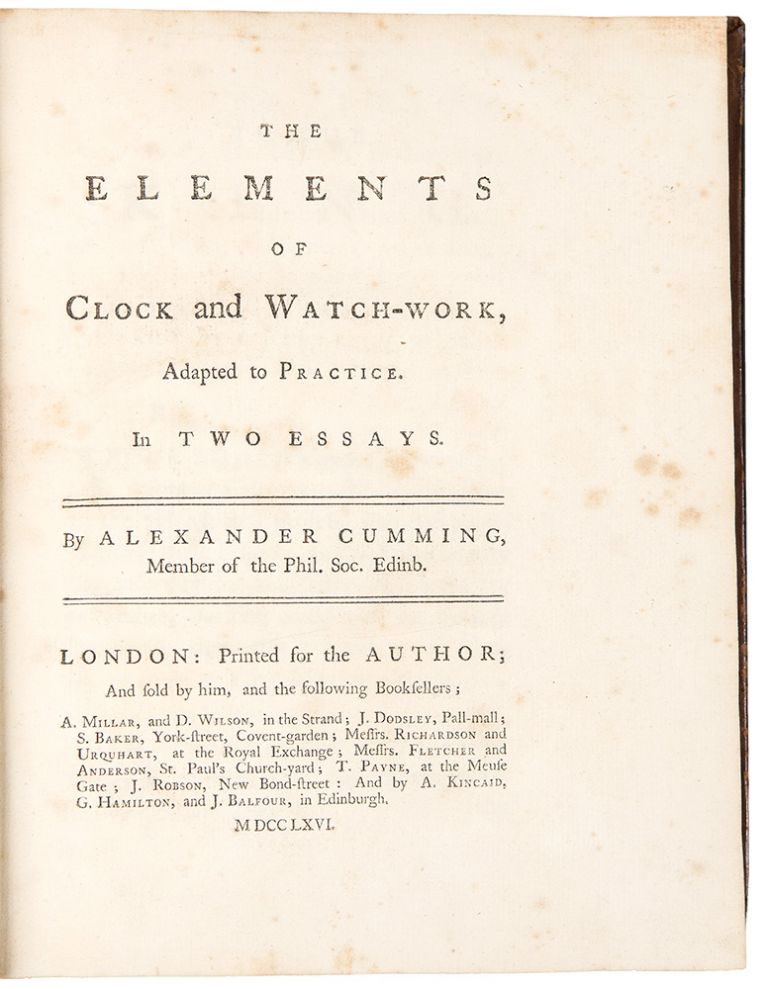 The Elements of Clock and Watch-Work, adapted to Practice. Alexander CUMMING.
