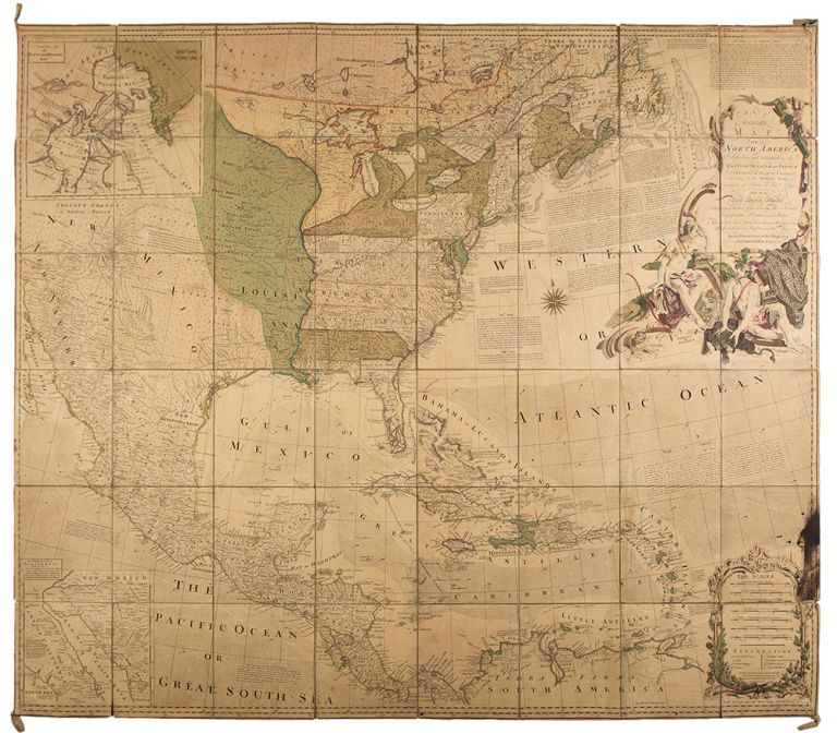An Accurate Map of North America describing ... The British, Spanish and French Dominions ... according to the Definitive Treaty concluded at Paris, 10th Feb. 1763 ...m. Emanuel BOWEN, John GIBSON, FRENCH, INDIAN WAR -, c., fl.