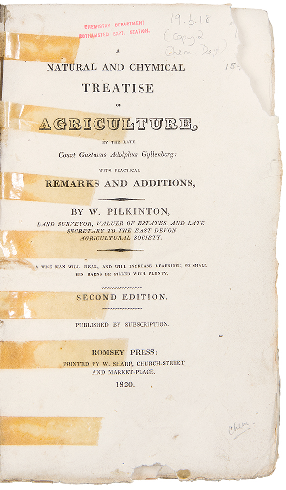 The Natural and Chymical Treatise of Agriculture by the late Count Gustavus Adolphus Gyllenborg, with Practical Remarks and Additions ... Second Edition. W. PILKINTON.