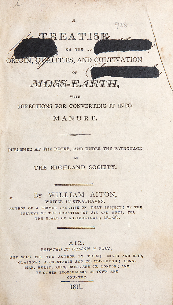 A Treatise on the Origin, Qualities, and Cultivation of Moss-Earth, with Directions for Converting it into Manure. William AITON.