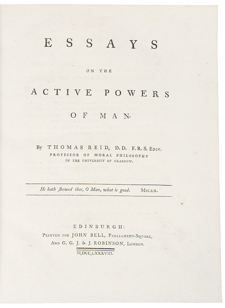 Essays on the Active Powers of Man. Thomas REID.